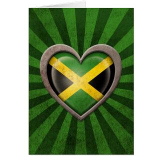 Aged Jamaican Flag Heart with Light Rays Card