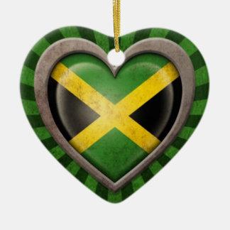 Aged Jamaican Flag Heart with Light Rays Double-Sided Heart Ceramic Christmas Ornament
