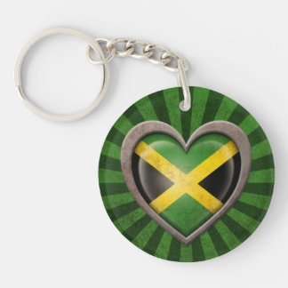 Aged Jamaican Flag Heart with Light Rays Double-Sided Round Acrylic Keychain