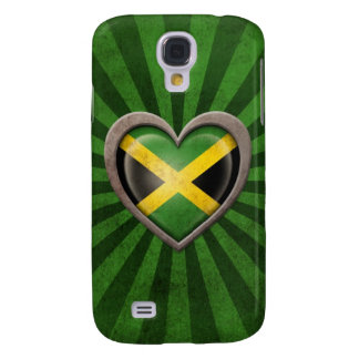 Aged Jamaican Flag Heart with Light Rays Galaxy S4 Cases