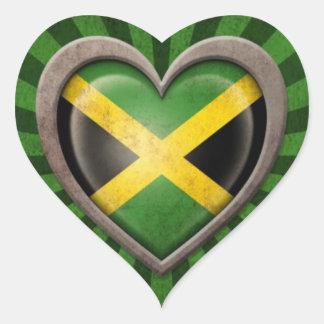 Aged Jamaican Flag Heart with Light Rays Heart Sticker