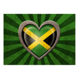 Aged Jamaican Flag Heart with Light Rays Large Business Cards (Pack Of 100)