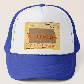 Aged Kansas State Pride Map Silhouette Trucker Hat