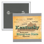 Aged Kentucky State Pride Map Silhouette 2 Inch Square Button