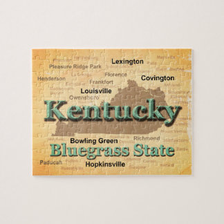 Aged Kentucky State Pride Map Silhouette Jigsaw Puzzle