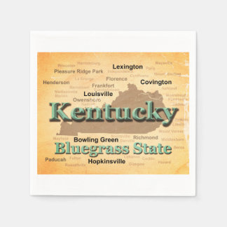 Aged Kentucky State Pride Map Silhouette Paper Napkin