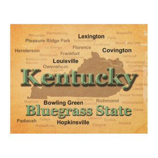 Aged Kentucky State Pride Map Silhouette Wood Print