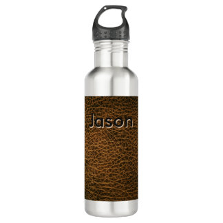 Aged Leather Stainless Steel Water Bottle