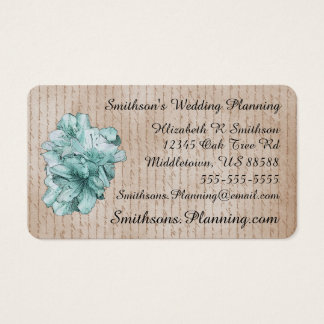 Aged Letter Aqua Illustrated Flower Customize Name Business Card