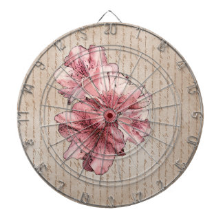 Aged Letter Pink Illustrated Flower Customize Name Dart Boards