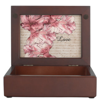 Aged Letter Pink Illustrated Flower Customize Name Keepsake Box