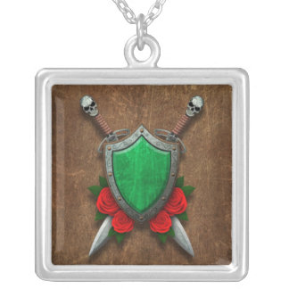 Aged Libyan Flag Shield and Swords with Roses Necklace