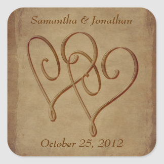 Aged Look Entwined Hearts Wedding Sticker