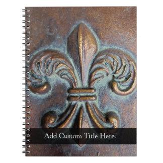 Aged-Look Fleur de Lis Notebook