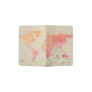 aged look watercolor world map with name, travel passport holder