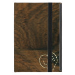 Aged Mahogany Faux Wood Texture with engraving Cover For iPad Mini