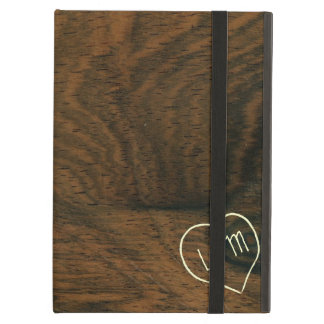 Aged Mahogany Faux Wood Texture with engraving iPad Folio Case