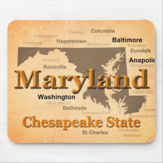 Aged Maryland State Pride Map Silhouette Mouse Pad