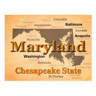 Aged Maryland State Pride Map Silhouette Postcard