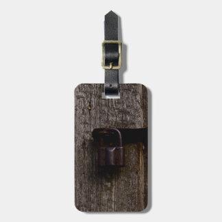 Aged Metal Lock On Wood Custom Luggage Tag