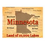 Aged Minnesota State Pride Map Postcard