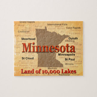 Aged Minnesota State Pride Map Puzzles