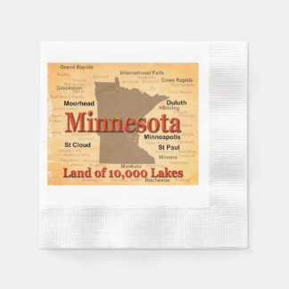 Aged Minnesota State Pride Map Disposable Napkins