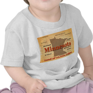 Aged Minnesota State Pride Map T-shirt