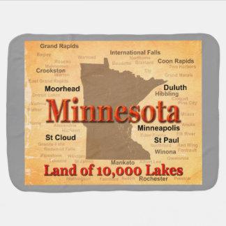 Aged Minnesota State Pride Map Stroller Blankets