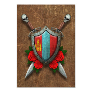 Aged Mongolian Flag Shield and Swords with Roses Card