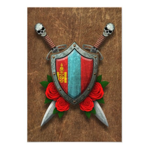 Aged Mongolian Flag Shield and Swords with Roses Personalized Invitations