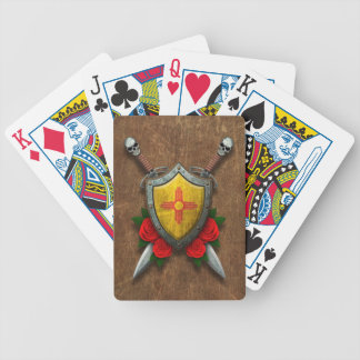 Aged New Mexico Flag Shield and Swords with Roses Card Decks