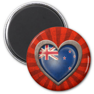 Aged New Zealand Flag Heart with Light Rays Fridge Magnets
