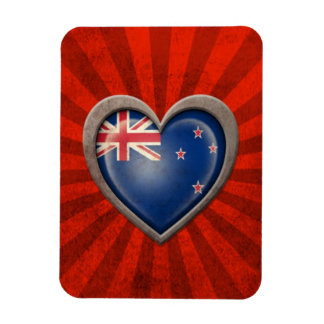 Aged New Zealand Flag Heart with Light Rays Flexible Magnets