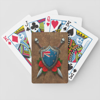 Aged New Zealand Flag Shield and Swords with Roses Poker Deck