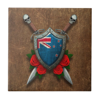 Aged New Zealand Flag Shield and Swords with Roses Tiles
