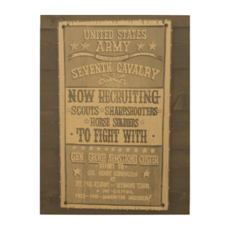 Aged Newspaper Seventh Cavalry Recruiting Wood Print