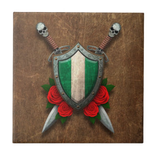 Aged Nigerian Flag Shield with Red Roses Ceramic Tile