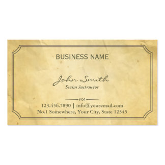 Aged Old Paper Texture Swim Instructor Business Cards