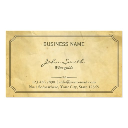 Aged Old Paper Texture Wine Tasting Business Card