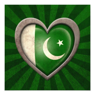 Aged Pakistani Flag Heart with Light Rays 5.25x5.25 Square Paper Invitation Card