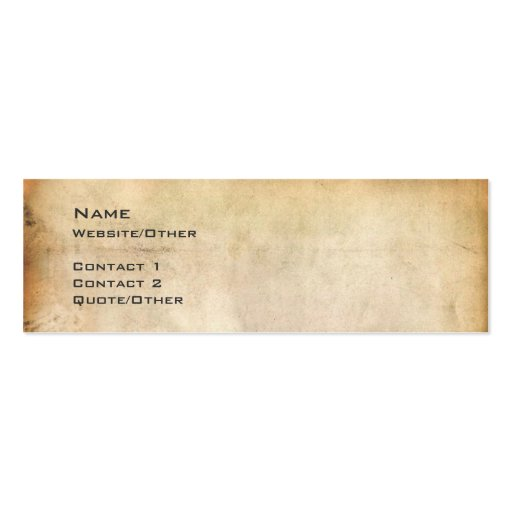 Aged Paper Double Sided Mini Business Cards Pack 20