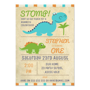Dinosaur 2nd birthday invitations zazzle aged paper dinosaurs birthday invitation filmwisefo
