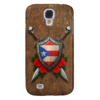 Aged Puerto Rico Flag Shield and Swords with Roses Galaxy S4 Cover