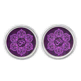 Aged Purple Stone Floral Om Cufflinks