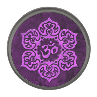 Aged Purple Stone Floral Om Gunmetal Finish Lapel Pin