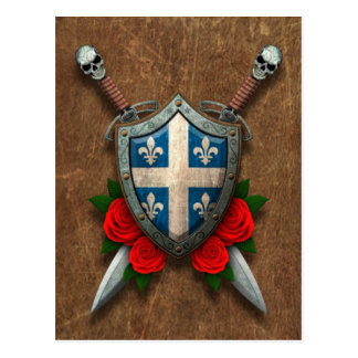 Aged Quebec Flag Shield and Swords with Roses Postcard