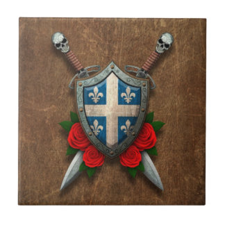 Aged Quebec Flag Shield and Swords with Roses Tiles
