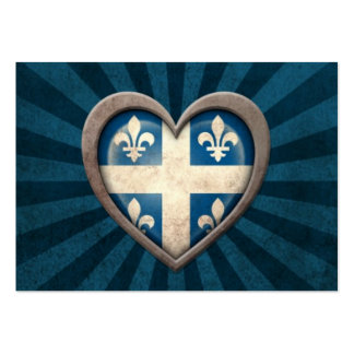 Aged Quebecois Flag Heart with Light Rays Business Card Template