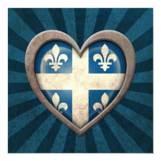Aged Quebecois Flag Heart with Light Rays 5.25x5.25 Square Paper Invitation Card